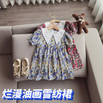 Dress Red, blue, light yellow female Other / other 80cm,90cm,100cm,110cm,120cm,130cm,140cm Other 100% summer Sweet Short sleeve Broken flowers other A-line skirt 18 months, 2 years old, 3 years old, 4 years old, 5 years old, 6 years old, 7 years old, 8 years old Chinese Mainland