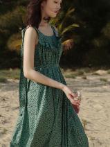 Dress Summer 2021 Green dot XXS,XS,S,M,L longuette singleton  Sleeveless commute Crew neck Loose waist Dot Socket A-line skirt 25-29 years old Type A Simplicity More than 95% cotton