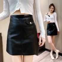 skirt Winter 2020 S,M,L,XL black Short skirt Versatile High waist A-line skirt Solid color Type A 71% (inclusive) - 80% (inclusive) other PU