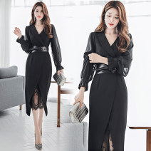 Dress Spring 2020 Black belt, white belt S,M,L,XL Two piece set Long sleeves commute V-neck High waist Solid color zipper One pace skirt Princess sleeve 25-29 years old Type A Ol style Lace up, asymmetric, mesh, zipper 51% (inclusive) - 70% (inclusive) Chiffon other