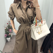 Dress Autumn 2020 Khaki, Navy S. M, l, XL, s premium, m premium, l premium, XL premium singleton  Long sleeves commute Polo collar middle-waisted Solid color Single breasted One pace skirt routine Others Type H Korean version Button, button