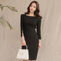 Dress Autumn of 2018 black S. M, l, XL, s premium, m premium, l premium, XL premium Middle-skirt singleton  three quarter sleeve commute Crew neck middle-waisted Solid color Socket One pace skirt Bat sleeve Others Type H Korean version Stitching, beading, zipper