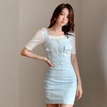 Dress Summer 2020 Light blue S. M, l, XL, s premium, m premium, l premium, XL premium Short skirt singleton  Short sleeve commute One word collar High waist Solid color zipper straps Type X Other / other Korean version Pocket, button, zipper Denim