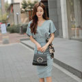 Dress Summer 2020 Blue suit, red suit S. M, l, XL, s high grade fabric, m high grade fabric, l high grade fabric, XL high grade fabric Two piece set Short sleeve commute V-neck middle-waisted Solid color Socket One pace skirt raglan sleeve Others 18-24 years old Type X Korean version other