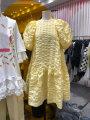 Dress Summer 2020 White, yellow, black S,M,L,XL Mid length dress singleton  Short sleeve commute Crew neck High waist Solid color Socket Big swing puff sleeve Korean version 71% (inclusive) - 80% (inclusive)