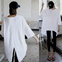 T-shirt white Summer of 2019 Short sleeve Crew neck easy Medium length routine commute cotton 96% and above 18-24 years old Korean version youth Solid color, stitching Asymmetry, splicing