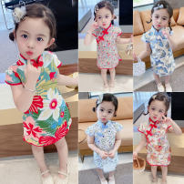 cheongsam 90,100,110,120,130 Red gilt, light blue butterfly, red little flower, light blue flower, red cherry, red big flower, red manyin broken flower Cotton 90% other 10% Other / other There are models in the real shooting summer other Chinese Mainland
