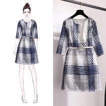 Women's large Autumn 2020 Picture color [half sleeve] S [recommended below 95 kg] , M [recommendation 95] - [105 kg] , L [recommendation 105] - 115 Jin] , XL [recommendation 115] - 125 kg] , 2XL [recommendation 125] - 140 kg] , 3XL [recommendation 140] - 150 kg] Dress singleton  moderate Socket