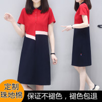 Dress Summer 2021 Red + light pink + Navy tricolor dress, blue + light pink + Navy tricolor dress S,M,L,XL,2XL,3XL,4XL Mid length dress singleton  Short sleeve commute Polo collar Loose waist Solid color Socket A-line skirt routine Others Type A See me for the first time Korean version Splicing