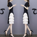 Dress Summer 2021 Black and white patchwork dress S,M,L,XL,2XL,3XL Mid length dress singleton  Short sleeve commute Crew neck High waist Solid color zipper A-line skirt routine Others Type A See me for the first time Korean version Pocket, panel, zipper E-2020