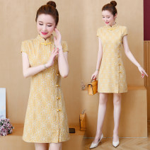 Dress Summer 2020 yellow S,M,L,XL,2XL,3XL,4XL,5XL Short skirt singleton  Short sleeve commute stand collar middle-waisted Socket 30-34 years old Type H Scattered Retro