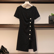 Women's large Summer 2020 black L [90-115 Jin recommended], XL [115-135 Jin recommended], 2XL [135-155 Jin recommended], 3XL [155-175 Jin recommended], 4XL [175-200 Jin recommended] Dress singleton  commute easy moderate Socket Short sleeve Solid color Korean version Crew neck routine 628#LXE