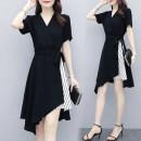 Women's large Summer 2020 black easy thin Cardigan Short sleeve Medium length
