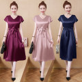 Women's large Summer 2020 Pink, Fuchsia, green, Navy, black, scarlet L (recommended 100-115 kg), XL (recommended 115-130 kg), 2XL (recommended 130-145 kg), 3XL (recommended 145-160 kg), 4XL (recommended 160-180 kg), 5XL (recommended 180-200 kg) Dress singleton  commute easy moderate Socket V-neck 5-6