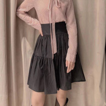 skirt Summer 2021 1 = XS, 2 = s, 3 = m, 4 = L, 5 = XL black Middle-skirt commute High waist Cake skirt Solid color Type A More than 95% O'amash banner other fold