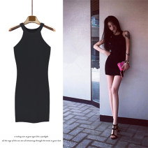 Dress Summer of 2019 White, black, red, pink Average size Short skirt singleton  Sleeveless street Crew neck High waist Solid color Socket One pace skirt other Hanging neck style 18-24 years old Type X Other / other 996# 51% (inclusive) - 70% (inclusive) cotton Europe and America