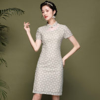 Dress Summer 2020 As shown in the figure S,M,L,XL,2XL Middle-skirt singleton  Short sleeve commute stand collar middle-waisted Solid color Socket A-line skirt Type A Retro 81% (inclusive) - 90% (inclusive) brocade cotton