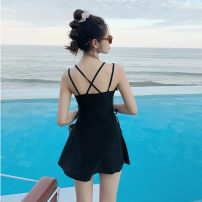 one piece  Imperial concubine M. L, XL, XXL, s [recommended 80-90 Jin] Black, pink, yellow, gray, buy free goggles One piece flat corner swimsuit With chest pad without steel support Polyester, others female Sleeveless Casual swimsuit Check, other