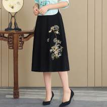 skirt Summer of 2019 Average size Blue, black Mid length dress commute Natural waist A-line skirt Type A Other / other ethnic style