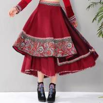 skirt Autumn of 2019 Average size Red, Navy longuette commute High waist Irregular other Type A corduroy Other / other Asymmetry ethnic style