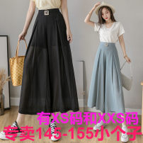 Casual pants Blue, black Xs, s, m, l, XL, 2XL, XXS genuine small 145-155 Summer 2021 Ninth pants Wide leg pants Natural waist commute routine 18-24 years old 96% and above Zhenyaluo other Korean version