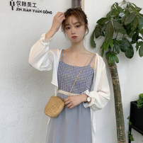 Lace / Chiffon Summer 2020 white Average size Long sleeves commute Cardigan singleton  easy have cash less than that is registered in the accounts V-neck Solid color pagoda sleeve 18-24 years old Splicing Korean version 96% and above polyester fiber