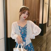 Lace / Chiffon Summer 2020 Apricot white Average size Nine point sleeve commute Socket singleton  easy have cash less than that is registered in the accounts V-neck Solid color routine 18-24 years old Splicing Korean version