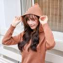 sweater Autumn 2020 S,M,L,XL Long sleeves Socket singleton  Medium length Angora  51% (inclusive) - 70% (inclusive) Hood thickening commute routine Solid color Straight cylinder Regular wool Keep warm and warm