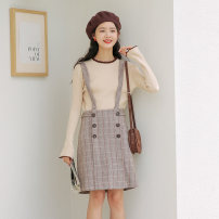 Dress Autumn 2020 Sweater , Suspender skirt , suit S,M,L Mid length dress singleton  Sleeveless High waist lattice zipper One pace skirt straps 18-24 years old Type H Button Wool cotton