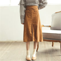 skirt Autumn of 2019 S,M,L,XL Khaki, black Mid length dress commute High waist A-line skirt Solid color Type A 18-24 years old 30% and below other Pocket, zipper Korean version