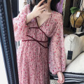 Dress Spring 2021 Apricot, pink S,M,L,XL longuette singleton  Long sleeves Sweet V-neck High waist Broken flowers Socket Pleated skirt puff sleeve Others 18-24 years old Type A Pleating, printing 2693 in stock 30% and below Chiffon Bohemia