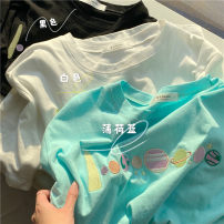 T-shirt Black, white, candy M,L,XL,2XL Summer 2021 Short sleeve Crew neck easy Regular routine commute cotton 30% and below 18-24 years old Korean version Plants and flowers Other / other Embroidery