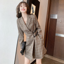 Dress Summer 2021 Khaki plaid dress S,M,L,XL Short skirt singleton  Long sleeves commute tailored collar High waist lattice A-line skirt routine Type A Sandro asw Retro Button, stitching, three-dimensional decoration, resin fixation, fold 91% (inclusive) - 95% (inclusive) polyester fiber