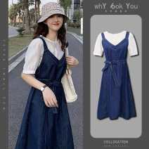 Dress Summer 2020 Jacket + suspender skirt suit S,M,L,XL,2XL,3XL,4XL longuette Two piece set Short sleeve Sweet V-neck High waist Solid color Socket A-line skirt shirt sleeve camisole 18-24 years old Type A WanChen Resin fixation z2yC6 31% (inclusive) - 50% (inclusive) Chiffon cotton solar system
