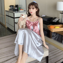 Pajamas / housewear set female Other / other M,L,XL,XXL Iced silk camisole Sweet pajamas summer Thin money Small lapel other Front buckle youth 2 pieces rubber string More than 95% silk printing NH2021032807 200g and below longuette