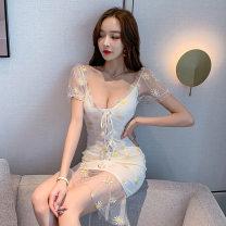 Dress Summer 2020 white S,M,L Short skirt singleton  Short sleeve commute V-neck middle-waisted Decor Socket Korean version Open back, stitching 71% (inclusive) - 80% (inclusive) polyester fiber