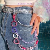 Belt / belt / chain plastic cement Transparent white, candy color acrylic chain, color yellow acrylic splicing love, color pink acrylic splicing love, color double-layer acrylic splicing love, color double-layer acrylic splicing love 2, light pink splicing love currency Waist chain Versatile bow