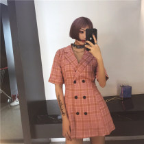 Dress Summer 2017 Pink lattice dark blue lattice S M Short skirt singleton  Short sleeve commute Polo collar High waist double-breasted A-line skirt routine Other / other 51% (inclusive) - 70% (inclusive) cotton