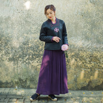 skirt Winter of 2018 S pre-sale, m pre-sale, l pre-sale, XL pre-sale, s spot, m spot, l spot, XL spot Purple cotton bag version, purple silk lining version, purple lining version, green lining version, black lining version Mid length dress Versatile Natural waist Pleated skirt Solid color Type A silk