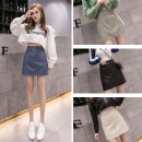 skirt Spring 2021 S,M,L,XL Black, blue, green, apricot Short skirt commute High waist A-line skirt Solid color Type A 18-24 years old B-1 Zipper, stitching Korean version