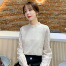 Lace / Chiffon Spring 2021 Apricot S,M,L,XL,2XL Long sleeves commute Socket singleton  easy Regular Crew neck Solid color pagoda sleeve 18-24 years old WW-28 Lace Korean version