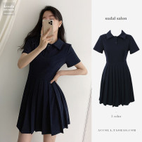 Dress Summer 2020 Black, navy blue S,M,L,XL,XXL Short skirt singleton  Short sleeve Sweet Polo collar High waist Solid color Socket Pleated skirt other Others 18-24 years old Other / other Pleats, folds, bandages other cotton college