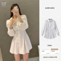 Dress Spring 2021 White, Khaki S,M,L,XL Short skirt singleton  Long sleeves commute Polo collar High waist Solid color A-line skirt puff sleeve 18-24 years old Type A Other / other Korean version 51% (inclusive) - 70% (inclusive) other polyester fiber