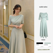 Dress Summer 2021 Black, bean green S,M,L,XL longuette singleton  Long sleeves commute One word collar High waist Solid color zipper A-line skirt puff sleeve Others 18-24 years old Type A Korean version zipper 31% (inclusive) - 50% (inclusive) other polyester fiber