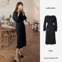 Dress Autumn 2020 black S,M,L Mid length dress singleton  Long sleeves commute Crew neck High waist Solid color zipper routine Others Type A Other / other Korean version 71% (inclusive) - 80% (inclusive) polyester fiber