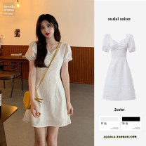 Dress Summer 2021 White short, white long, black short, black long S,M,L,XL Middle-skirt singleton  Short sleeve commute V-neck High waist Solid color Three buttons A-line skirt routine Others 18-24 years old Type A Korean version 31% (inclusive) - 50% (inclusive) brocade cotton