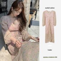 Dress Autumn 2020 Pink S,M,L,XL longuette singleton  Long sleeves commute V-neck High waist Broken flowers zipper Ruffle Skirt puff sleeve Others 18-24 years old Other / other Korean version Bow, ruffle, print More than 95% Chiffon other