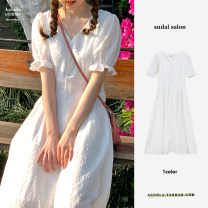 Dress Summer 2021 white XS,S,M,L,XL Short skirt singleton  Short sleeve commute V-neck Loose waist Solid color zipper A-line skirt puff sleeve Others 18-24 years old Type A Korean version other polyester fiber