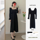 Dress Winter 2020 Apricot, black S,M,L,XL Mid length dress singleton  Long sleeves commute square neck High waist Solid color Socket A-line skirt Petal sleeve 18-24 years old Type A Other / other Korean version Lotus leaf edge Chiffon