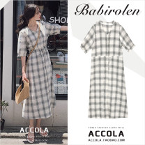 Dress Summer 2020 lattice S,M,L,XL Mid length dress singleton  Short sleeve commute V-neck High waist lattice Single breasted A-line skirt routine Type A Other / other Korean version Bowknot, tuck, lace up, stitching, strap, button cotton